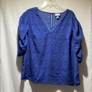 Blue blouse with cinched sleeves